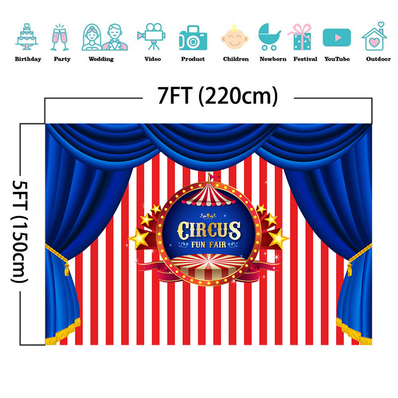 NeoBack Circus Birthday Backdrop Circus Tent Carnival Photography Backdrops Stripe Curtain Party Decor Photo Background in Background from Consumer Electronics