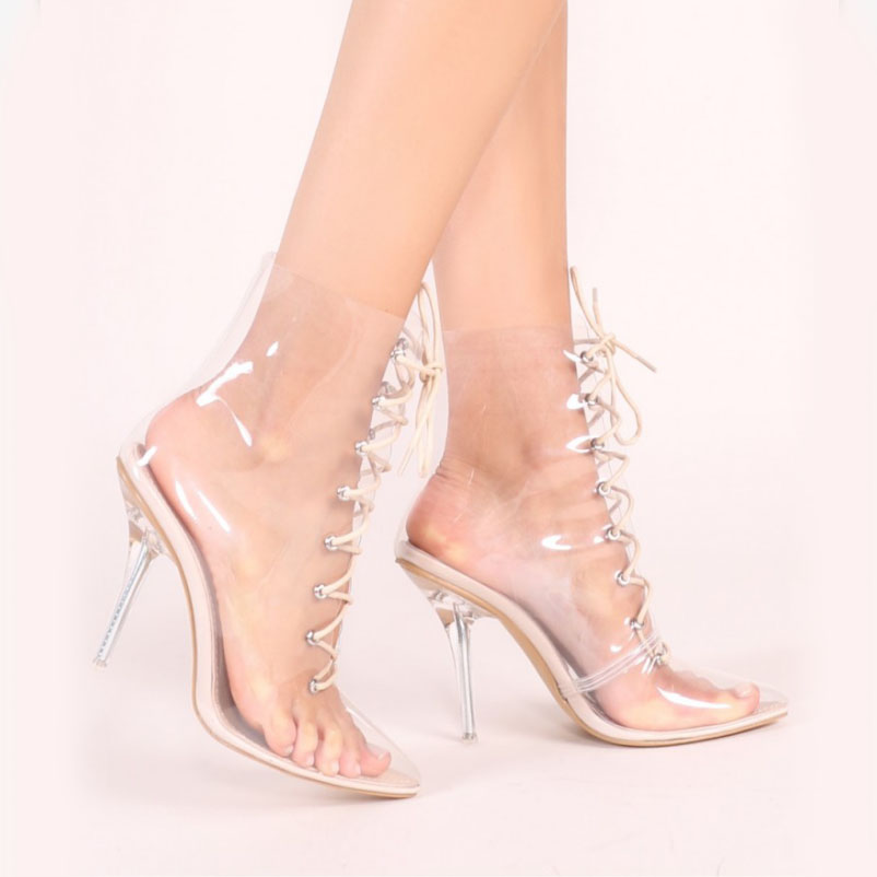 A-BUYBEA Sexy Lace-Up Pvc Women Ankle Boots Pointed Toe Transparent Super High Heel Shoes Gladiator Ladies Party Footwear