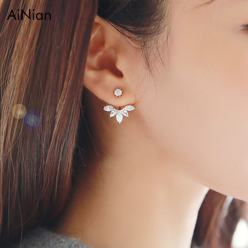 AiNian Korean Gold And Silver Plated Leave Crystal Stud Earrings Fashion Statement Jewelry Earrings For Women Free Shipping