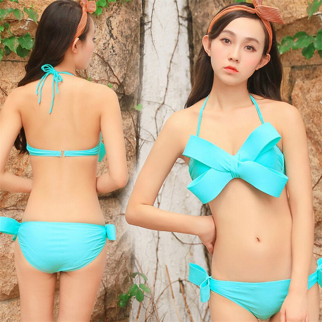 295d95a28370a Stereo Bowknot Size Bust Gold Tile Gathering Bikini Two-piece Swimwear Women  Feelings Pretty elegance Style Swimwear