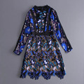 Europe Style 2017 Spring Newest Casual Hollow Out Water Vintage Soluble Embroidered Patchwork Full Sleeve Above Knee Dress Women