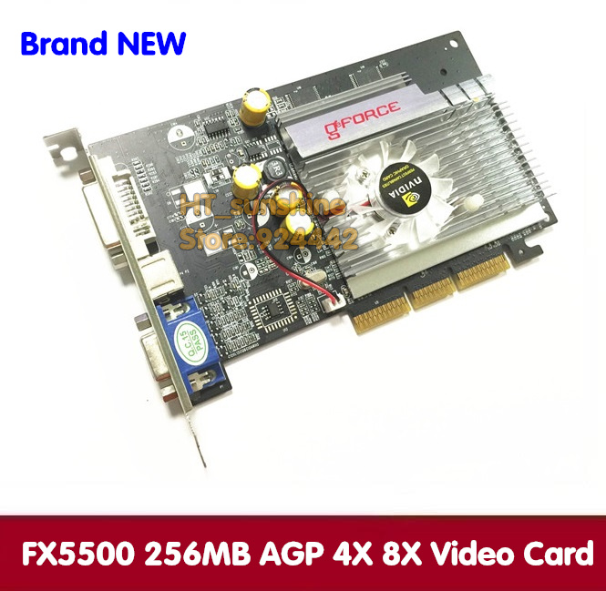 1PCS NEW Direct from Factory Free Shipping NEW GeForce FX5500 256MB DDR AGP 4X 8X VGA DVI Video Card dhl ems free shipping new ati radeon 9550 256mb ddr2 agp 4x 8x video card from factory 50pcs lot