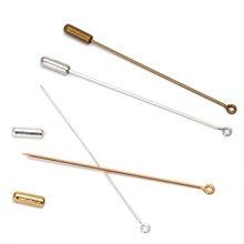 Медные булавки для брошей в форме петли длиной 50/70 мм с пробкой