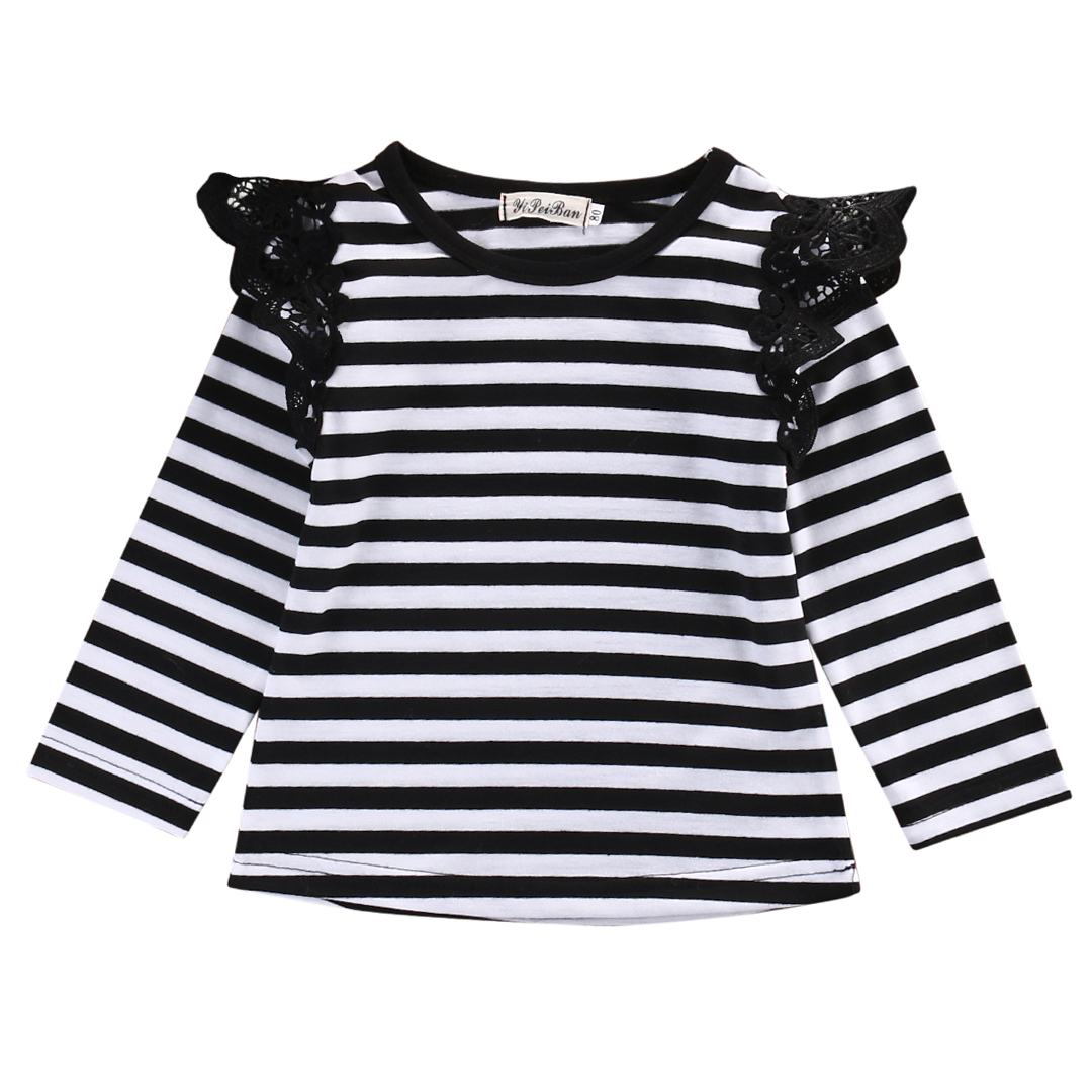 Infant Toddler Baby Kids Girl Cotton Casual Lace Tops Long Sleeve T-Shirt Blouse
