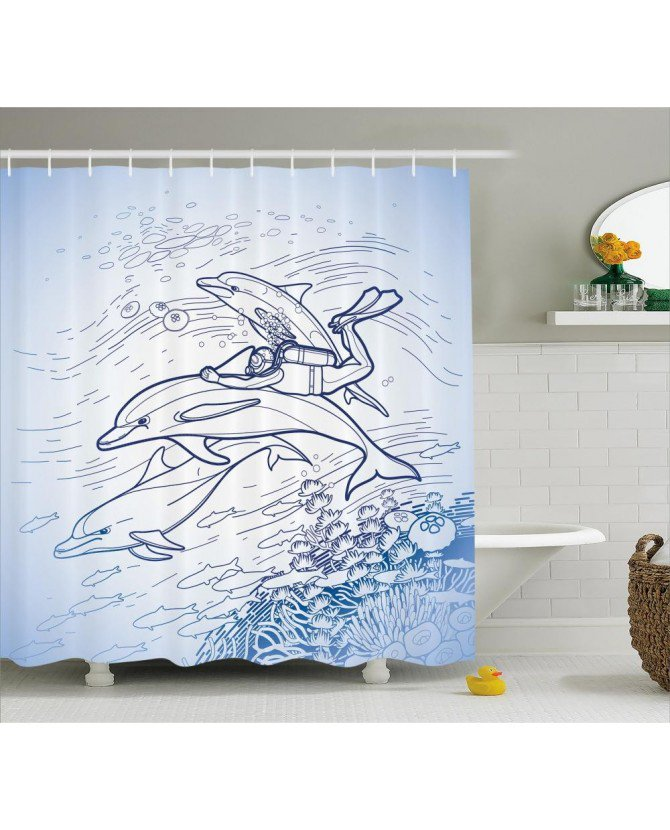 Океан жизни душ Шторы эскиз аквалангист печати для bathroomfabric моющиеся Водонепроницаемый с Кольца