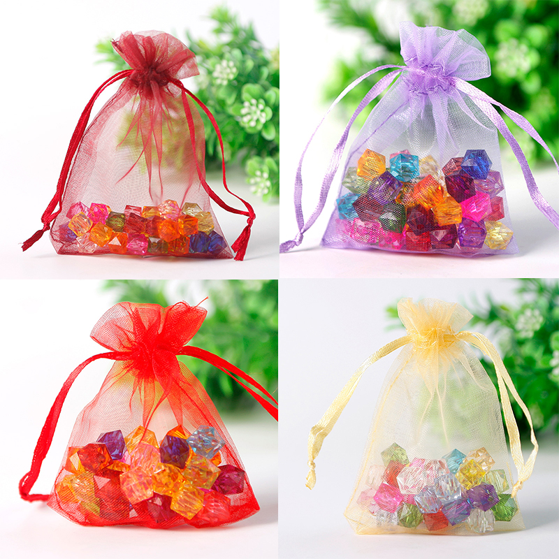 Whole 50pcs Lot Multicolor Small Organza Bags 7x9cm Favor Wedding Christmas Gift Bag Jewelry Packaging
