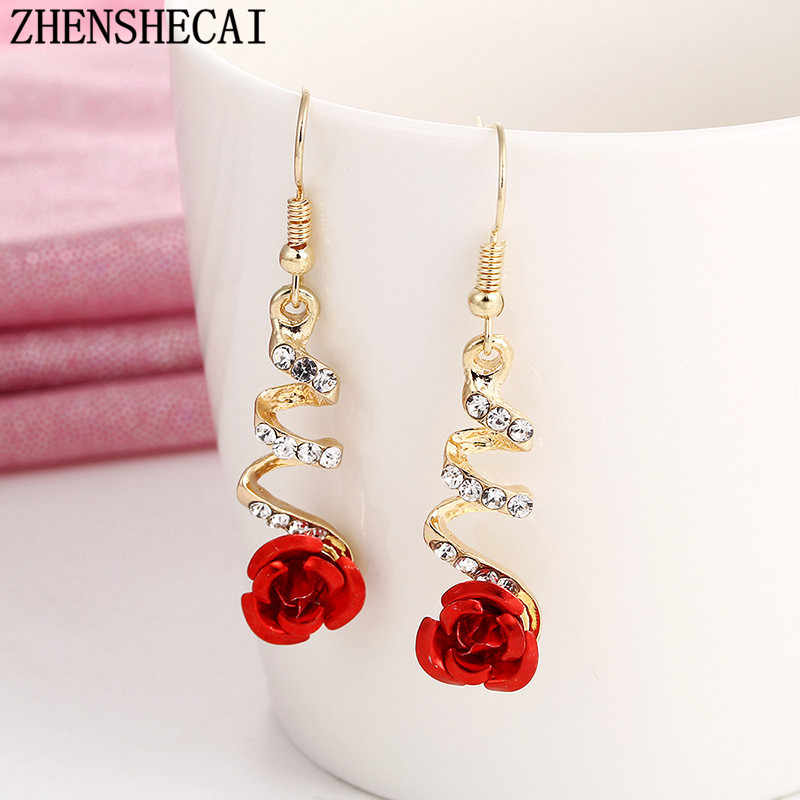 2017 fashion jewelry women drop earring hang long flower shape crystal red color earring for girl birthday gift e0373