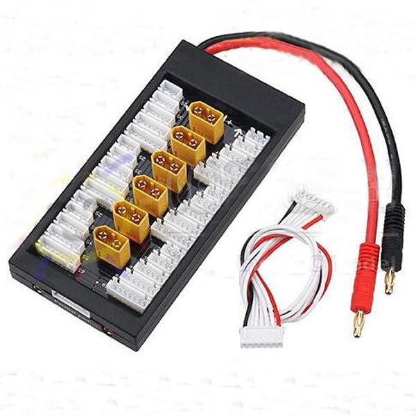 Amass XT60 Plug Lipo battery parallel charging board charger extension conversion plate 4mm banana connector B6 Maxpro x612s x6
