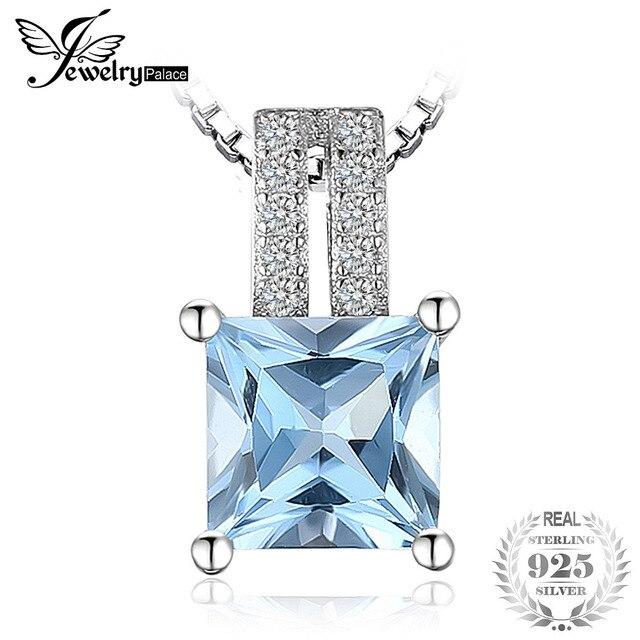JewelryPalace 1.3ct princess-cut Sky Blue Topaz Wedding Anniversary Pendant Neck