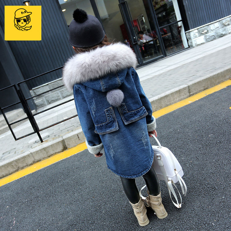 все цены на Girl's Winter Autumn Big Faux Fur Hooded Plus Velvet Middi Long Denim Jeans Coats Children Thick Warm Fleece Jackets Outwear Hot