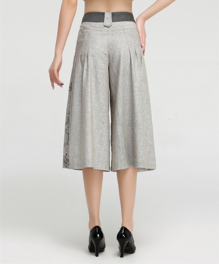 50fc53d47fb57 summer culottes pants for women breeches plus size linen trousers floral  high waist wide leg pants capris calcas femininas 2016-in Pants   Capris  from ...