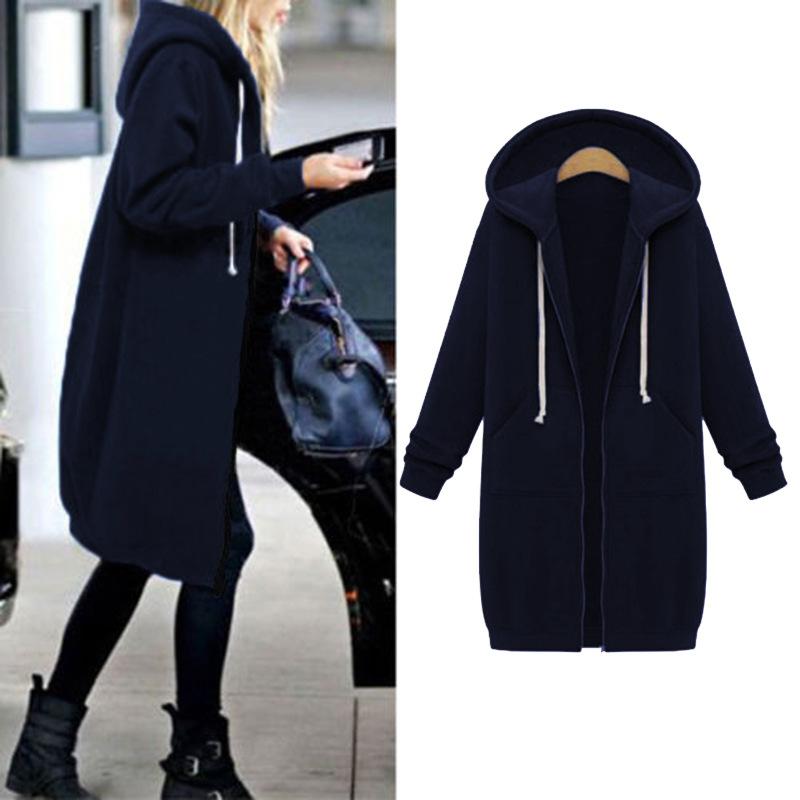 Women Warm Winter Fleece Hooded Parka Coat Overcoat Long Jacket Outwear Zipper outwear Female Hoodies S-5XL plus size sweatshirt 29