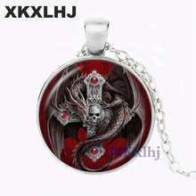 XKXLHJ Gothic Dragon and Cross Pendant Necklace Skull Jewelry Glass Glass Cabochon Gem Animal Chain Sweater Necklace Best Gifts(China)