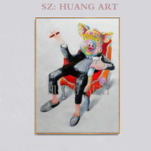 Free Shipping Artist Hand-painted High Quality Modern  Pig Oil Painting on Canvas Funny Smoking Boss
