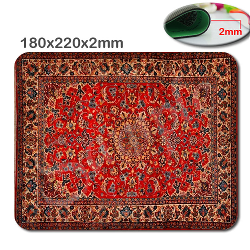Size is 180x22OX2MM MousePad Design Your Own Burgundy Oriental/Persain Rug Fashion Hot Oblong Shaped Mouse Mat Design Natural...