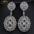 Gorgeous White Gold Plated Cubic Zirconia Setting European Style Long Big Vintage Bridal Earrings For Wedding Jewelry Gift CZ330
