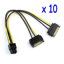 10Pcs/lot Dual Two SATA 15 Pin Male M to PCI-e Express Card 6 Pin Female Graphics Video Card Power Cable 20cm(China)