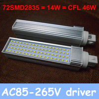 Nuevo bombillas led g24 220 v 4 pin llevó la lámpara del bulbo 14 W AC 85-265 V LED downlight SMD 2835 brillante blanco caliente/blanco/Fresco blanco 2 unids/lote