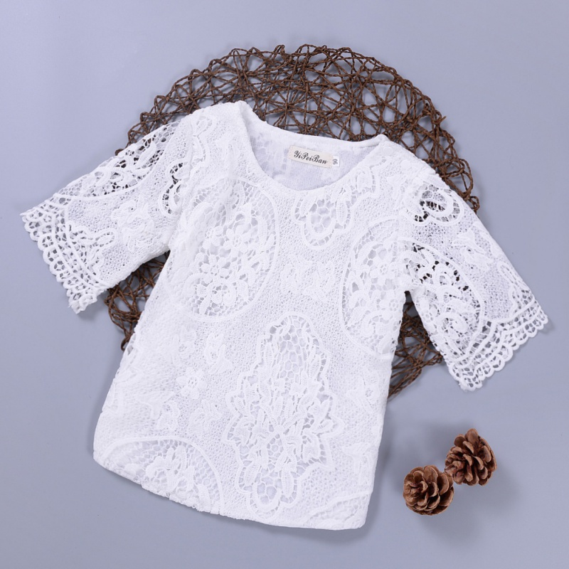New Spring Autumn Kids Baby Girl's Lace Flower Pattern Shirt Tops Long Sleeve Blouse Pullover O Neck White Costumes купить в Москве 2019