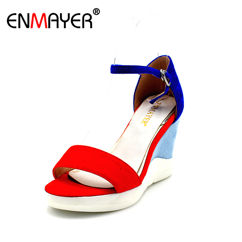 ENMAYER New Summer Women Wedges Heels Platform Sandals Women High Heels Mixed Colors Shoes Woman Fashion Open Toe Suede Sandals free shipping fashion 2017 new summer wedges platform sandals women black and white open toe high heels female shoes z596