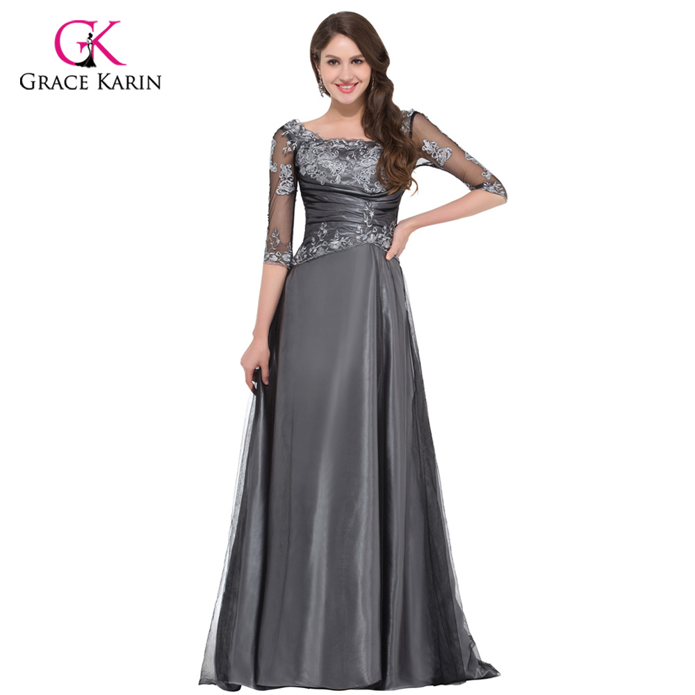 っgrace Karin Grey Elegant Long Half Sleeve Evening Dresses