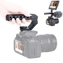 Alüminyum DSLR En Kolu Kavrama w 3 Soğuk Ayakkabı Mounts için 1/4 3/8 Monitör Mikrofon Video Işığı sony A6400 6300 Nikon Canon