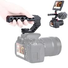 Alluminio DSLR Top Handle Grip w 3 Scarpa Freddo Monti 1/4 3/8 per il Monitor Microfono Luce Video per sony A6400 6300 Nikon Canon