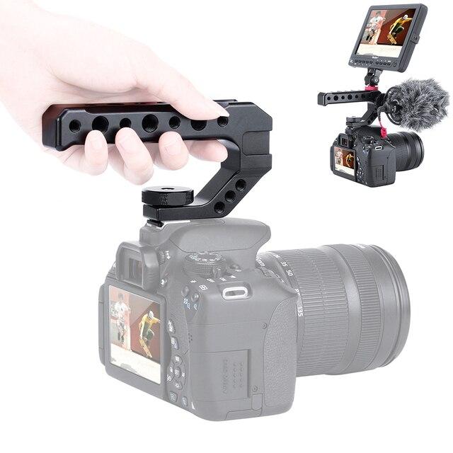 Aluminium DSLR Top Poignée Grip w 3 Froid Supports de Chaussures 1/4 3/8 pour Moniteur Microphone Vidéo Lumière à sony A6400 6300 Nikon Canon