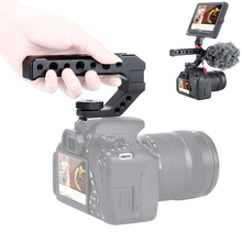 Aluminum DSLR Top Handle Grip w 3 Cold Shoe Mounts 1/4 3/8 for Monitor Microphone Video Light to Sony A6400 6300 Nikon Canon