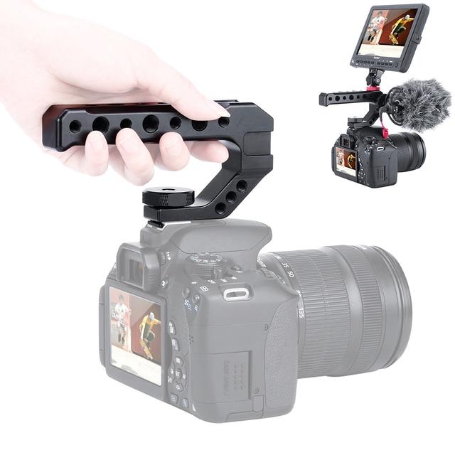 อลูมิเนียม DSLR Top Handle Grip 3 เย็นรองเท้า Mounts 1/4 3/8 สำหรับ Monitor ไมโครโฟนวิดีโอแสง sony A6400 6300 Nikon Canon