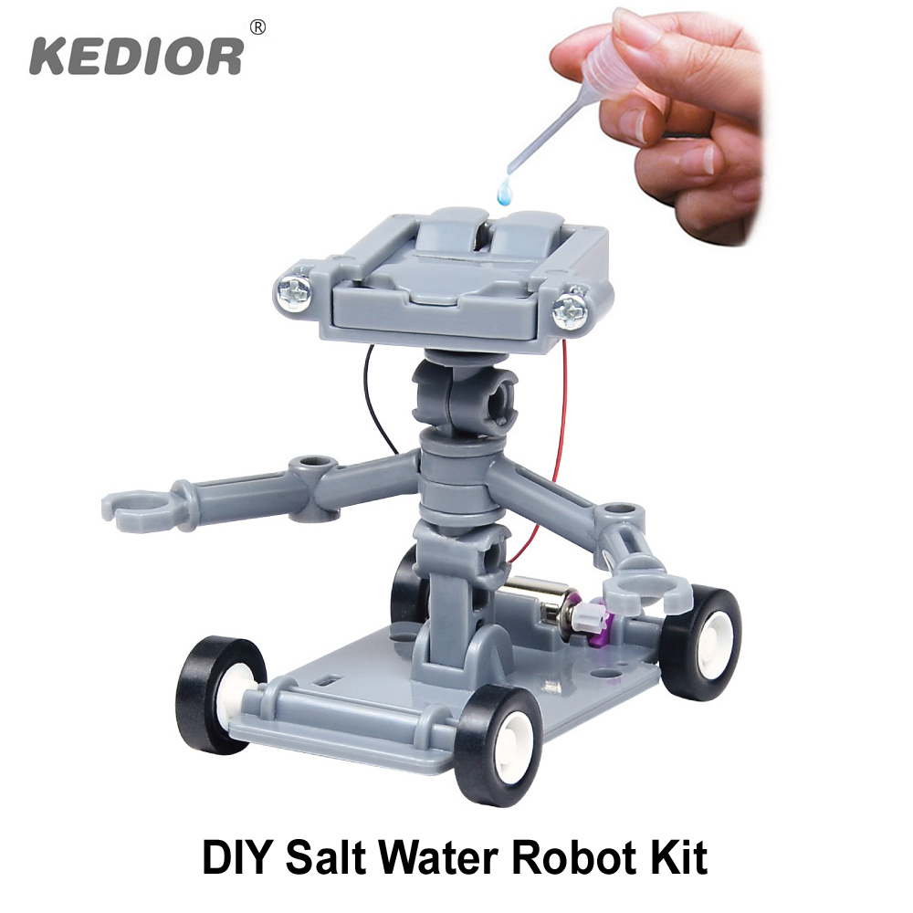 Kedior Salt Water Powered Robot DIY Educational font b Science b font Toys Little Fun Mechanics
