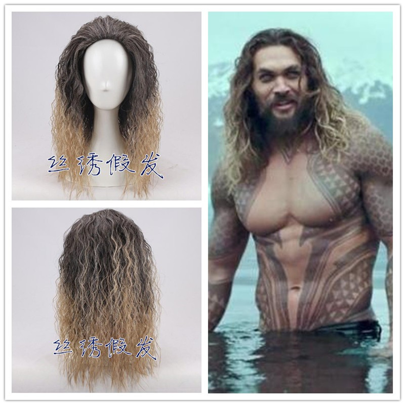 Movie Justice League Aquaman Wig Aquaman Role Play Hair Comic Cosplay Jason Momoa Wig Carnival Hair For Men Adult Cosplay Props