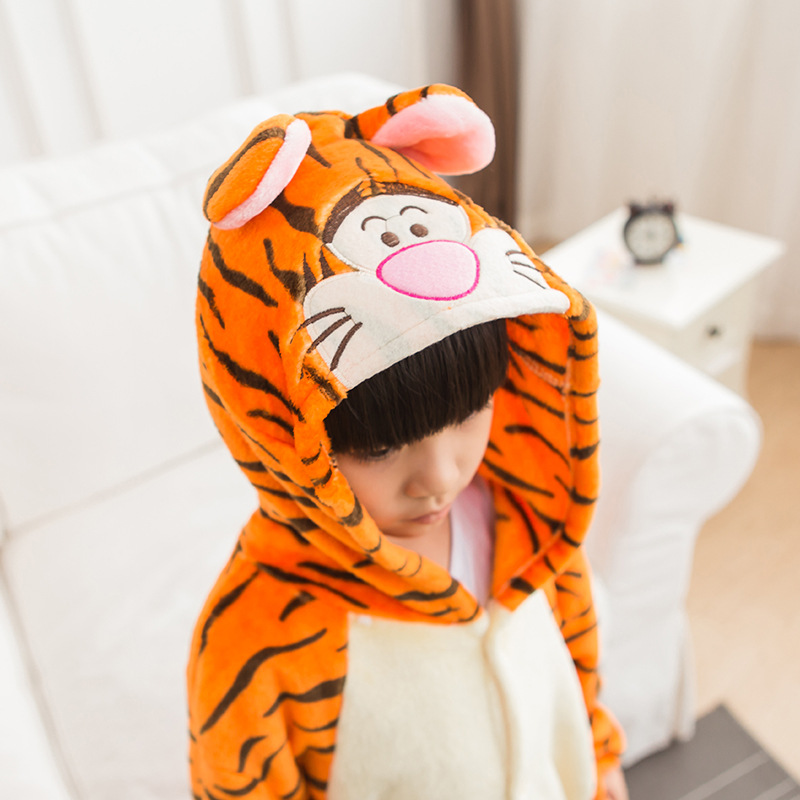 Jumping Tiger Children Kids Boys Girls Pajamas Animal Pajamas Flannel Pajamas Winter Cartoon Animal Onesies Chrismas Pyjamas