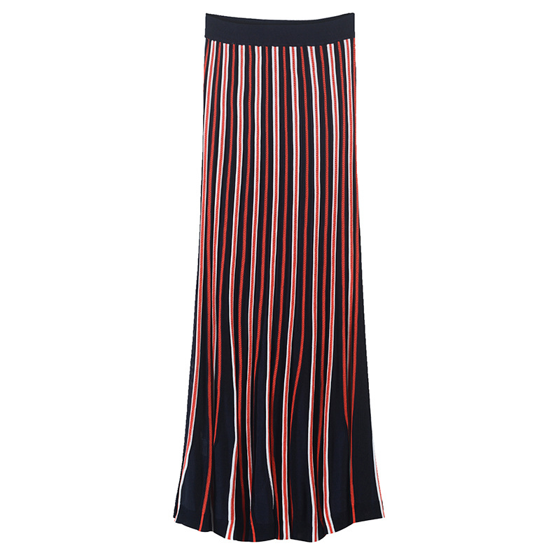 Falda de mujer de punto ahuecada Falda larga de mujer de cintura alta elástica falda de Color bloque a rayas pista-in Faldas from Ropa de mujer    1