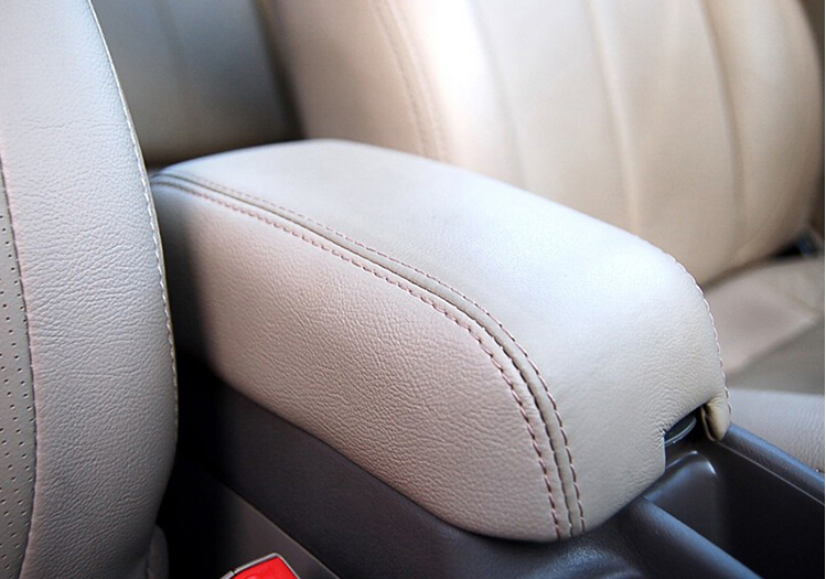 Genuine Leather Protection Pad Armrest Box Cover for MITSUBISHI Lancer Center Console Armrest Leather Cover PU Beige Grey Black black multifunctional cotton car armrests pads cover center console armrest seat box pad for jeep wrangler 2007 2017 up