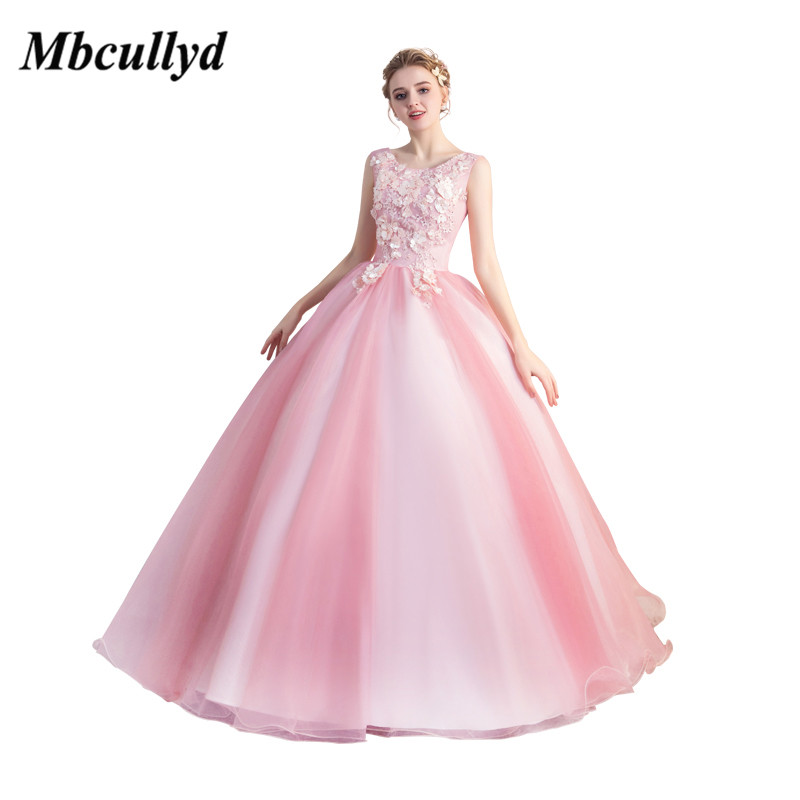 bd5701fee Mbcullyd Baby Pink Quinceanera Dresses 2019 Long Sweet 16 Ball Gowns  Applique Lace Vestidos De 15