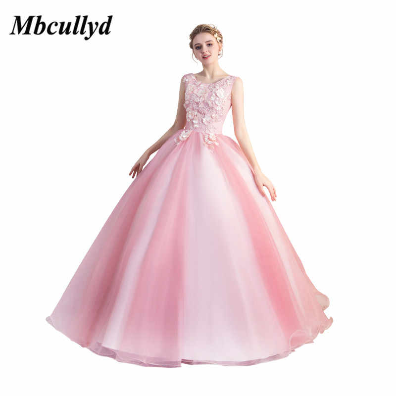 76d8862666 Mbcullyd Baby Pink Quinceanera Dresses 2019 Long Sweet 16 Ball Gowns  Applique Lace Vestidos De 15 Anos Debutante Custom Made