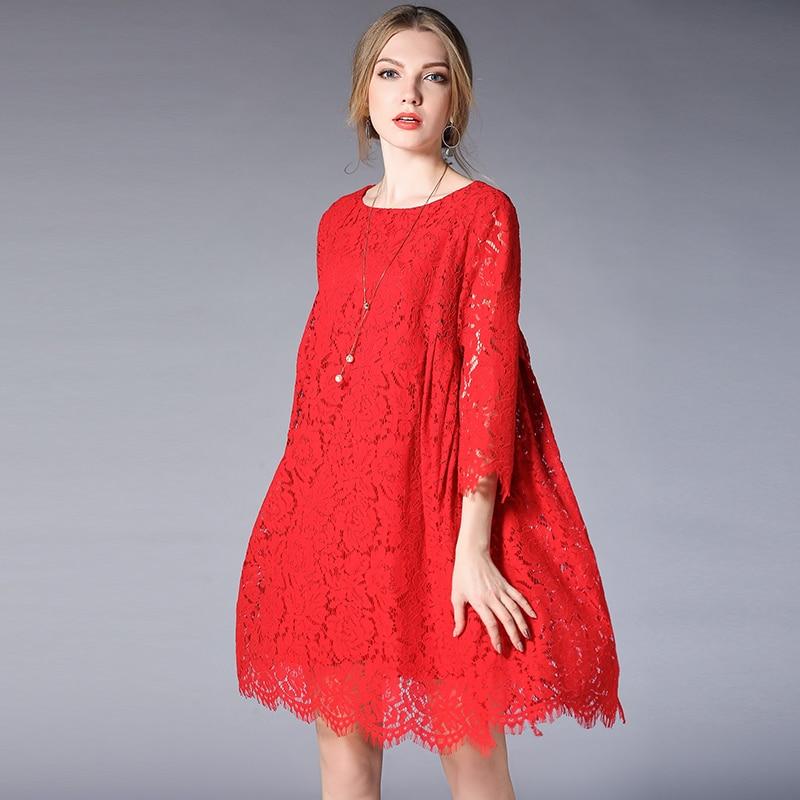 Plus Size Dresses Large Sizes Women Casual Loose Lace