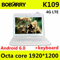 K109 4G LTE Tablet pc 10.1 pulgadas Android 6.0 tablet pc octa core 4 GB RAM 128 GB ROM 5MP IPS Tabletas Teléfono 1920X1200 + teclado