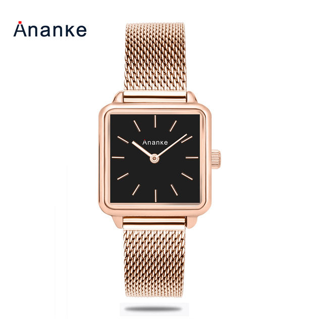 Women Square Stainless Steel Mesh Watch Lady Simple Rose Gold Wristwatch Waterpr
