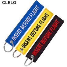 Embroidery Luggage Tags INSERT BEFORE FLIGHT Letter with OEM KeyChain Key ring Fashion Travel tag for Aviation Gifts 3PCS/LOT