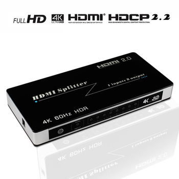 HDMI Splitter 1 in 8 out, 1x8 4 K HDMI 2.0 Splitter Ondersteuning 4 K * 2K @ 60 HZ/3D/HDCP 2.2/HDMI 2.0 op