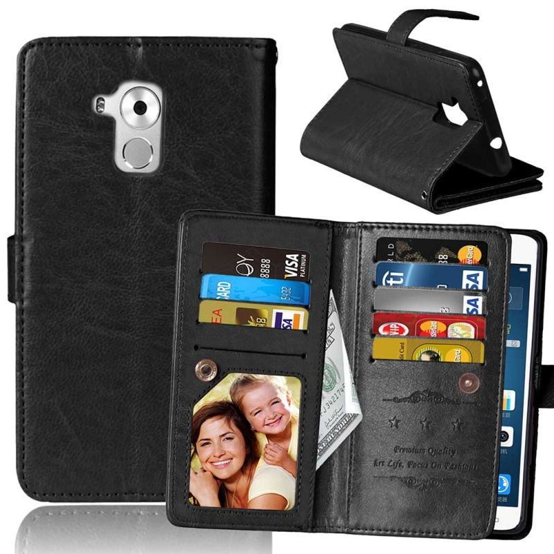 For Huawei GT3 Case Built in 9 Card Slots Crazy Horse PU Leather Wallet Cover