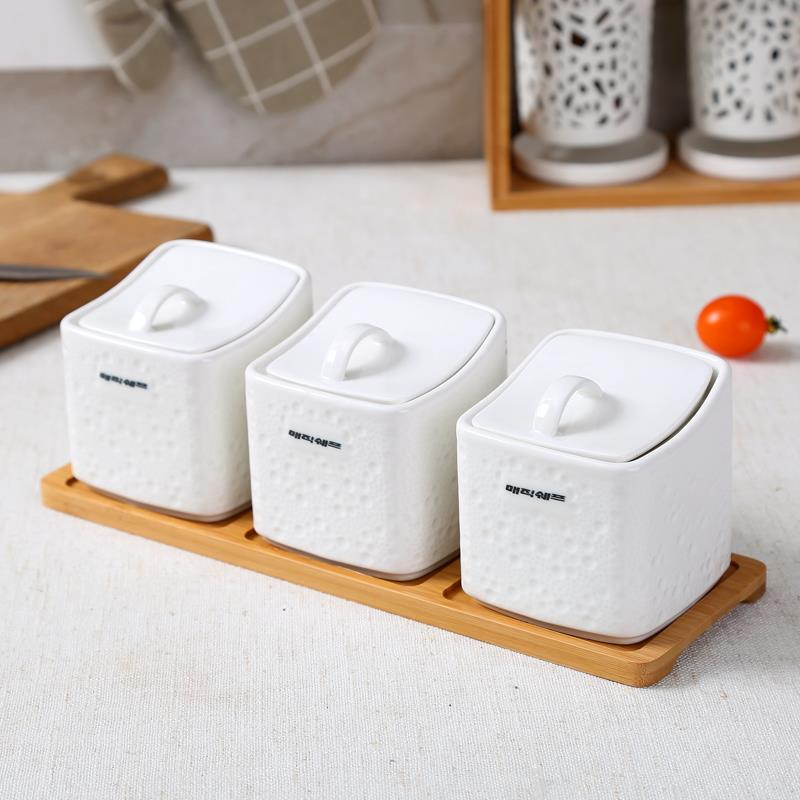 Sugar Bowl Home Kitchen 3 In 1 Set Ceramica Salt Condiment Seasoning Pot Jars