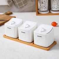 Sugar Bowl Home Kitchen 3 In 1 Set Ceramica Salt Condiment Seasoning Pot Jars