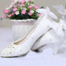 Free Shipping new fashion women's shoes lace 2″ Heel pearl wedding shoe White Color Middle Heel Celebration Prom Shoes