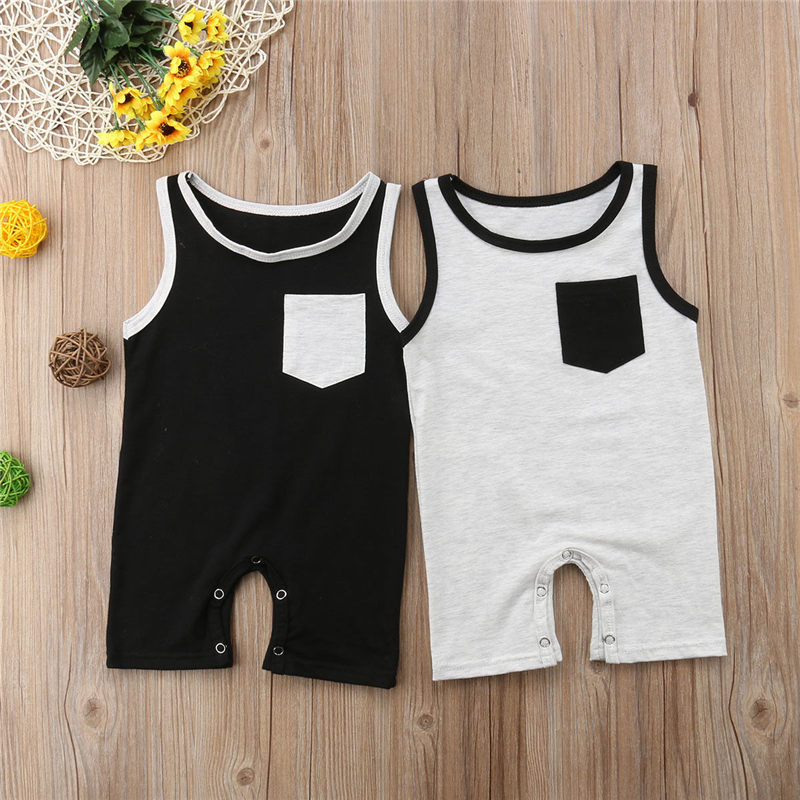 Emmababy Newborn Baby Girl Boy Pocket Sleeveless Romper Jumpsuit Outfits Clothes Spring Summer Clothing Gifts