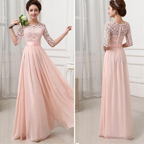 S-L Fashion Women Winter Evening Party Dresses Sexy Half Sleeve White Lace Maxi Long Dress Pink Dress Gowns 10