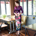 cotton cheongsam dress women long qipao long sleeve silk with embroidery traditional chinese dress plus size purple