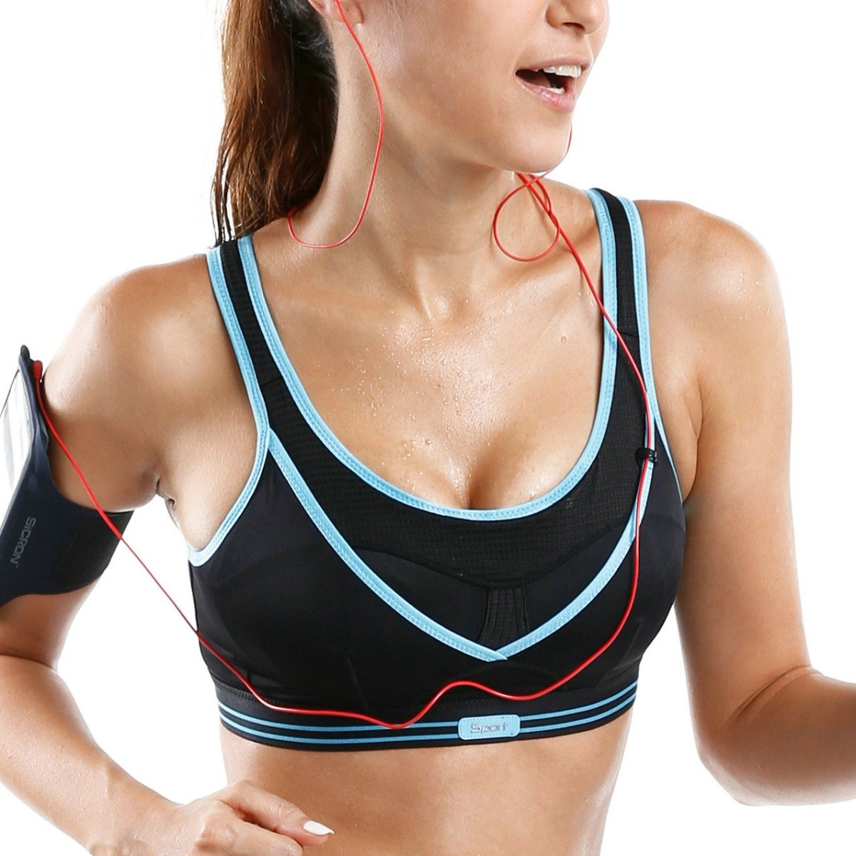 SYROKAN Women's High Impact Wireless Support Cool Racerback Gym Active Non Padded Sports Bra